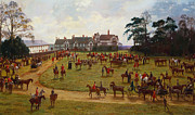 Birds Eye View Framed Prints - The Cheshire Hunt    The Meet at Calveley Hall  Framed Print by George Goodwin Kilburne