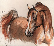Horse Drawing Painting Prints - The Chestnut arabian Horse 6 Print by Angel  Tarantella