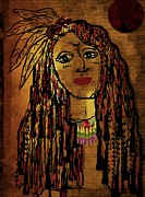 Brave Mixed Media Metal Prints - The cheyenne indian warrior Brave Wolf pop art Metal Print by Pepita Selles
