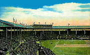 Baseball Stadiums Framed Prints - The Chicago Cubs Wrigley Field Around 1920 Framed Print by Dwight Goss