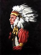 Native American Pastels - The Chief 2 by Karen Elkan