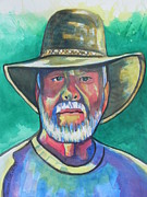 Greens Greeting Cards Prints - The Chief Print by Chrisann Ellis