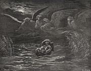 Basket Drawings Prints - The Child Moses on the Nile Print by Gustave Dore