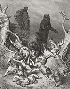 Mocking Drawings Posters - The Children Destroyed by Bears Poster by Gustave Dore