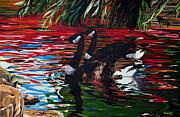 Canadian Geese Paintings - The Chincousy Lovers 1 by Henny Dagenais