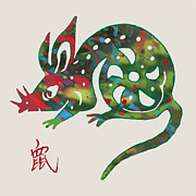 Mouse Mixed Media Posters - The Chinese Lunar Year 12 Animal - Rat Mouse  pop stylised paper cut art poster Poster by Kim Wang