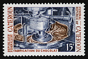 Blending Photos - The Chocolate Factory Vintage Postage Stamp by Andy Prendy