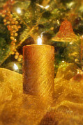 Lit Digital Art Posters - The Christmas Candle Poster by Lois Bryan