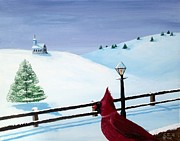 Lamppost Paintings - The Christmas Cardinal by Spencer Hudon II
