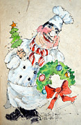 Kitchen Watercolor Paintings - The Christmas Chef by Suzy Pal Powell