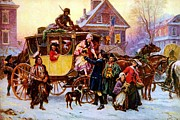 Coach Horses Posters - The Christmas Coach Poster by Pg Reproductions
