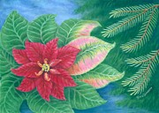 Plants Pastels Posters - The Christmas Eve Flower - the Poinsettia Poster by Terra Summers