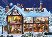 Snowy Night Night Digital Art Prints - The Christmas House Print by Steve Crisp
