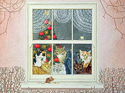 Window Frame Framed Prints - The Christmas Mouse Framed Print by Ditz