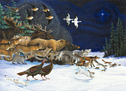 Wild Animals Painting Framed Prints - The Christmas Star Framed Print by Lynn Bywaters