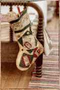 Bed Quilt Posters - The Christmas Stocking Poster by Margie Hurwich