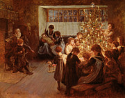 Family Gathering Framed Prints - The Christmas Tree Framed Print by Albert Chevallier Tayler