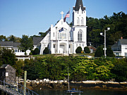 The Church Across Boothbay Harbor Print by James Turnbull