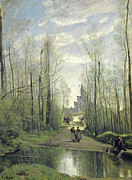 Shadows Paintings - The Church at Marissel by Jean Baptiste Camille Corot