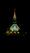 Virginia City Posters - The Church Glows at Night Poster by Cheryl Young