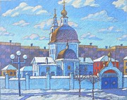 Russian Pastels Acrylic Prints - The church in the monastery Acrylic Print by Igor Kir