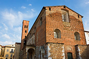 Lucca Prints - The Church of San Romano facade in Lucca Italy Print by Kiril Stanchev