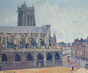 Camille Pissarro Painting Posters - The Church of St Jacques in Dieppe Poster by Camille Pissarro