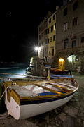 Cinque Terra Prints - The Cinque Terre - Moon over Riommagiore Harbor Print by Rob Greebon