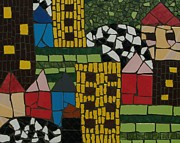 Mosaic Mixed Media Originals - The city by Alina Albu