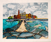 Buildings Drawings - The City by the Sea by Teri Schuster