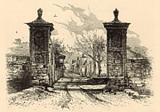 Horse And Buggy Drawings - The City Gate - St. Augustine 1872 Engraving by Harry Fenn by Antique Engravings