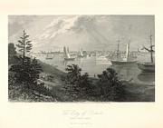 Detroit Drawings Framed Prints - The City of Detroit from Canada 1872 Engraving with border Framed Print by Antique Engravings