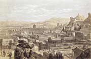Walls Drawings Framed Prints - The City of Ephesus from Mount Coressus Framed Print by Edward Falkener