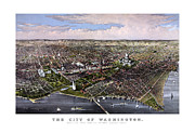 District Mixed Media Framed Prints - The City Of Washington Birds Eye View Framed Print by War Is Hell Store