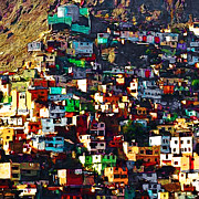 Hill Town Art - The City on The HIll v1 square by Wingsdomain Art and Photography