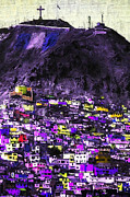 Shack Digital Art Prints - The City on The HIll v2p128 Print by Wingsdomain Art and Photography