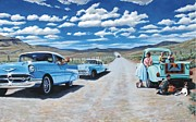 1950s Cars Painting Framed Prints - the Classic Book Club Framed Print by Dwayne  Davis