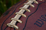 Footballs Closeup Framed Prints - The Classic Leather Football Framed Print by David Patterson