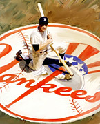 Street Drawings - The Classic Mantle Mickey Mantle by Iconic Images Art Gallery David Pucciarelli