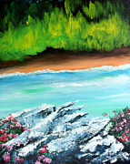 Waterscape Painting Prints - The Cliff Print by Ellen Canfield