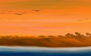 The Cliffs At Sunset - Digital Artwork Print by Gina Manley