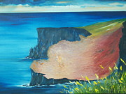 Irish Impressionist Painting Framed Prints - The cliffs of Moher Ireland Framed Print by Conor Murphy