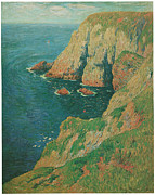 Cliffs Over Ocean Metal Prints - The Cliffs of Stang Ile de Croix Metal Print by Henry Moret