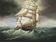 Eric Bellis Metal Prints - The Clipper Ship Cutty Sark in a Squall Metal Print by Eric Bellis