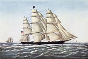 Sailboats Drawings Framed Prints - The Clipper Ship Flying Cloud Framed Print by Anonymous
