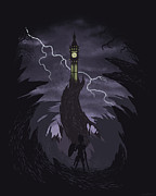Scary Digital Art Prints - The Clock Tower Print by Christopher Ables