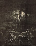 Bible Drawings Metal Prints - The Close of the Crucifixion Metal Print by Antique Engravings