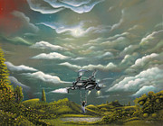 Swing Art Paintings - The Cloud Machine. Surreal Pop Fantasy Acrylic Painting By Philippe Fernandez by Philippe Fernandez