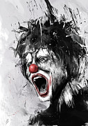 Black And White Mixed Media Framed Prints - The Clown Framed Print by Balazs Solti