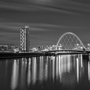Glasgow Scene Framed Prints - The Clyde Arc mono Framed Print by John Farnan